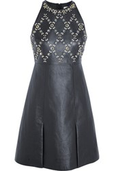 Erdem Crystal Embellished Leather And Wool Crepe Mini Dress Navy