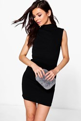Boohoo Jade Open Back Crepe Bodycon Dress Black