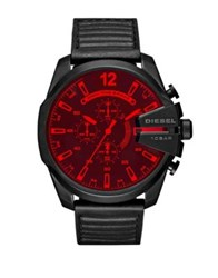 Diesel Night Ops Advanced Mega Chief Stainless Steel Leather Strap Watch Black