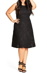 City Chic Plus Size Women's Lace Fit And Flare Dress Black