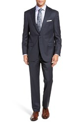 Peter Millar Men's Big And Tall Flynn Classic Fit Solid Wool Suit Charcoal