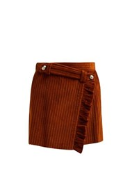 Miu Miu Ruffled Wrap Front Cotton Corduroy Mini Skirt Brown