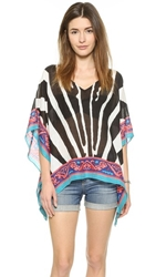 Theodora And Callum Botswana Scarf Cover Up Top Black Multi