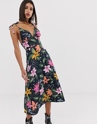 Neon Rose Midi Cami Dress With Tie Shoulders In Tropical Floral Print Navy