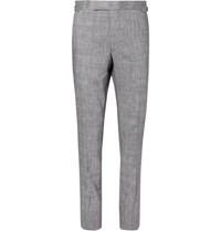 Richard James Navy Hyde Prince Of Wales Checked Slub Linen Blend Suit Trousers Navy