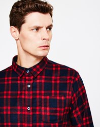 The Idle Man Flannel Check Shirt Red