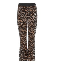 Stella Mccartney Wool Blend Knitted Cropped Flared Trousers Multicoloured
