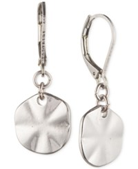 Lonna And Lilly Silver Tone Hammered Disc Drop Earrings
