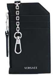Versace Keychain Card Holder Women Calf Leather One Size Black