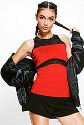 Boohoo Fit Mesh Panel Running Vest Red