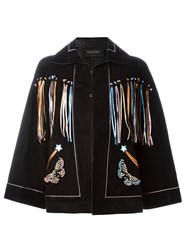 Valentino Butterfly Embroidery Cape Black
