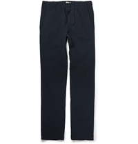 Bottega Veneta Crinkled Cotton Blend Trousers Blue