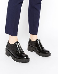Park Lane Zip Front Leather Flat Shoes Blackhishine