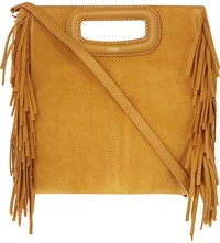 Maje The M Suede Cross Body Bag Moutarde
