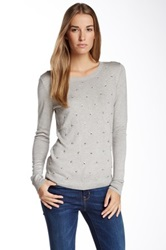 Vertical Design Allover Jeweled Sweater Gray