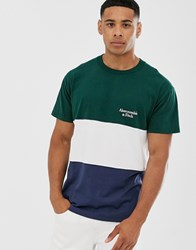 Abercrombie And Fitch Colourblock Small Logo T Shirt In Green White Navy Multi