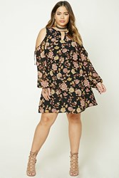 Forever 21 Plus Size Open Shoulder Dress Black Pink