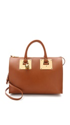 Sophie Hulme Zip Top Bowling Bag Tan