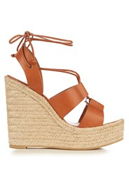 Saint Laurent Lace Up Espadrille Leather Wedge Sandals Tan