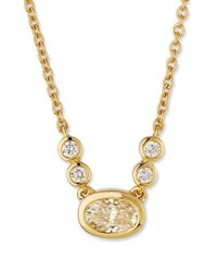 Memoire Bezel Set Oval Diamond Pendant Necklace In 18K Yellow Gold 0.30 Tdcw