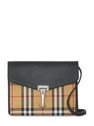 Burberry Baby Macken Checked Leather Bag Beige