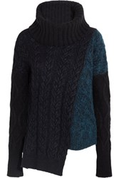 Stella Mccartney Asymmetric Cable Knit Wool Blend Turtleneck Sweater Black