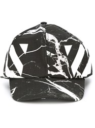 Off White Marbled Baseball Cap Black