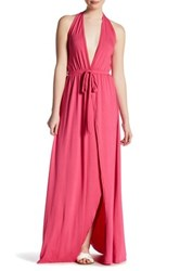 Go Couture Tie Dye Halter Maxi Dress Pink