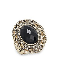 Saks Fifth Avenue Glass And Goldtone Metal Ring Black