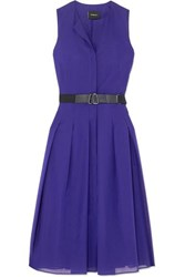 Akris Belted Pleated Cotton Voile Midi Dress Blue