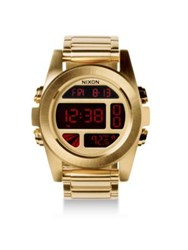 Nixon Unit Stainless Steel Digital Bracelet Watch Gold