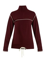 Chloe Half Zip Cashmere Sweater Red White