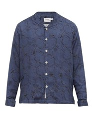 Schnayderman's Graphic Print Twill Shirt Blue