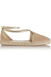 Jimmy Choo Donna Studded Suede And Metallic Leather Espadrilles