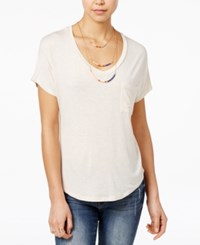 Belle Du Jour Juniors' V Neck High Low T Shirt With Necklace Heather Oatmeal