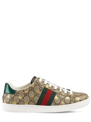 Gucci 20Mm New Ace Gg Supreme Canvas Sneakers Beige Green