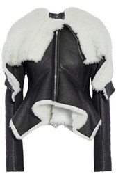 Rick Owens Draped Shearling Leather And Ribbed Wool Jacket Black