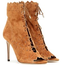 Jimmy Choo Open Toe Suede Lace Up Ankle Boots Brown