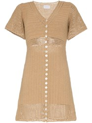She Made Me Aahana Short Sleeved Crochet Mini Dress Brown