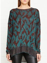 By Malene Birger Eoni Patterned Lurex Knitted Top Teal Burgundy