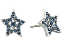 Marc Jacobs Mj Coin Tiny Star Pave Studs Earrings Blue Silver