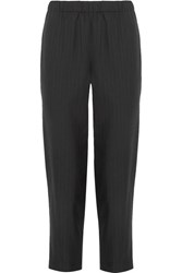 Comme Des Garcons Cropped Pinstriped Wool Tapered Pants Black
