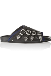 Toga Pulla Suede Trimmed Embossed Leather Sandals