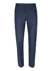 Topman Blue Navy Neppy Skinny Fit Suit Trousers
