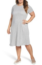 Vince Camuto Plus Size Women's Two By Delicate Stripe T Shirt Dress Grey Heather