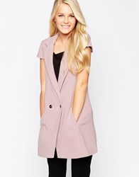 Closet Longline Waistcoat With Cap Sleeves Pink