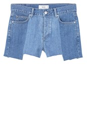 Mango Contrast Denim Shorts Medium Blue