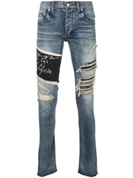 Fagassent Distressed Logo Print Skinny Jeans Blue