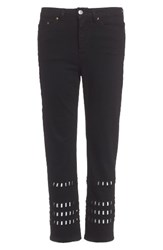 Topshop Women's Geo Cutout Straight Leg Jeans Washed Black