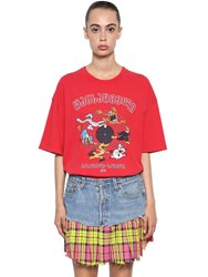 Vetements Cartoon Print Cotton Jersey T Shirt Red